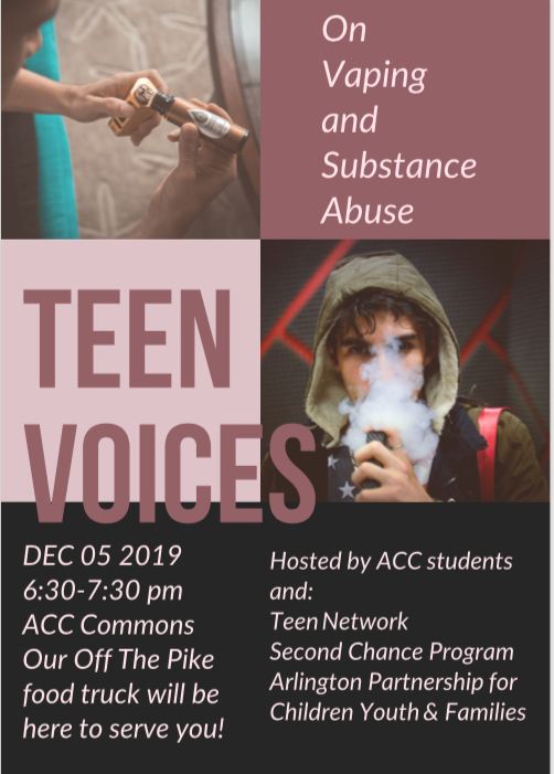 Teen Voices on Vaping: Community Information Night. 12/5, 6:30pm at Arlington Career Center, 816 So. Walter Reed Drive. Grab dinner at our culinary arts food truck and learn from students about one of the most provocative health issues of our time. <a target='_blank' href='http://search.twitter.com/search?q=WeAreACC'><a target='_blank' href='https://twitter.com/hashtag/WeAreACC?src=hash'>#WeAreACC</a></a> <a target='_blank' href='http://twitter.com/APSCareerCenter'>@APSCareerCenter</a> <a target='_blank' href='https://t.co/0QYhr3Pfyg'>https://t.co/0QYhr3Pfyg</a>