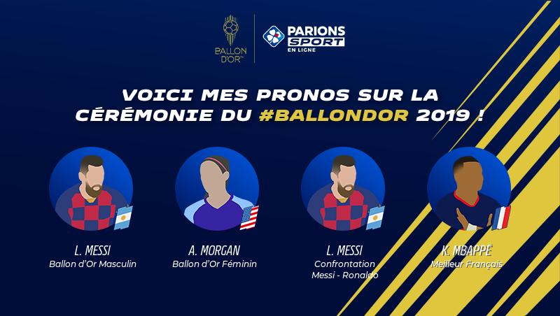 Voici mes pronos sur la cérémonie du #Ballondor 2019 avec @ParionsSport !À ton tour de parier pour tenter de gagner 1 000€ de freebets sur http://parionsdor.fr