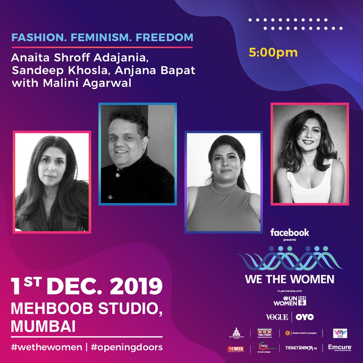 Fashion. Feminism. Freedom. Don't miss this scintillating conversation tomorrow in Mumbai at Mehboob Studio @WeTheWomenAsia with the incomparably talented @Anaita_Adajania @AJSKOfficial Anjana Bapat @MissMalini. Just a few hours before registration closes. Book @TicketNinjaIN