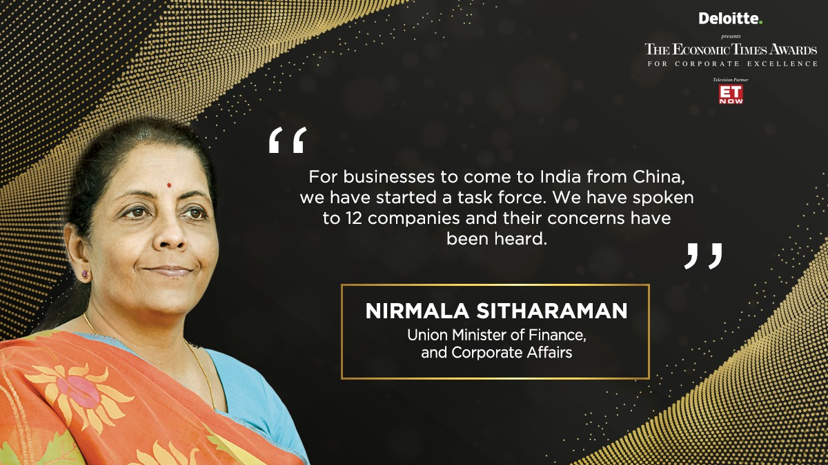 Union Minister of Finance and Corporate Affairs @nsitharaman speaks at #ETAwards 2019. Watch LIVE at bit.ly/2rFTINm @DeloitteIndia