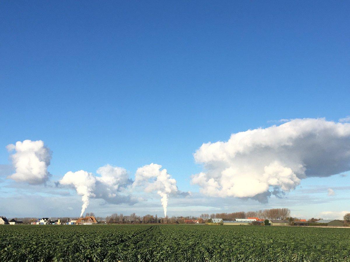Het is bijna helemaal onbewolkt. Tenzij je bij de fabrieken bent. Echte industriewolken dus. @EdAldus @Weerplaza @MeteoGroupWeer