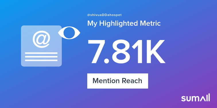 My week on Twitter 🎉: 8 Mentions, 7.81K Mention Reach, 9 Likes, 2 Retweets, 82 Retweet Reach. See yours with