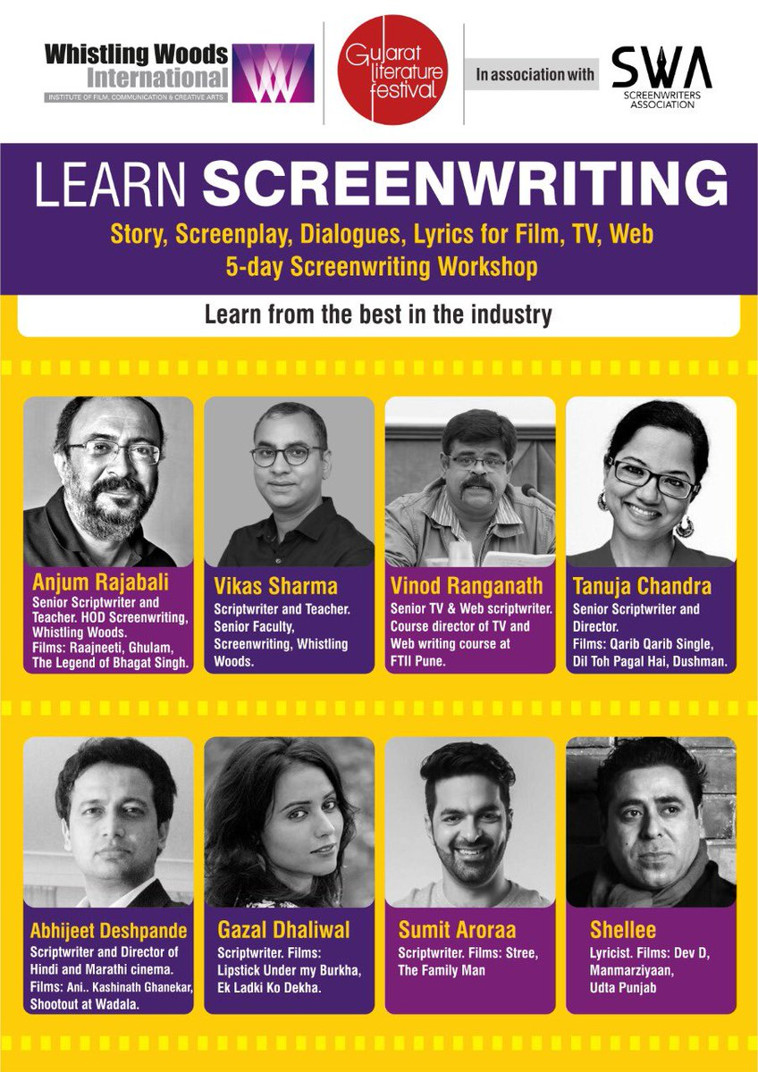 Learn screenwriting from the masters, at the 8th edition of @gujlitfest from Dec 18-22 2019, in Ahmedabad. SWA, @Whistling_Woods and @gujlitfest launch the first of its kind 'Indian Screenwriters Festival'! #GujLitFest