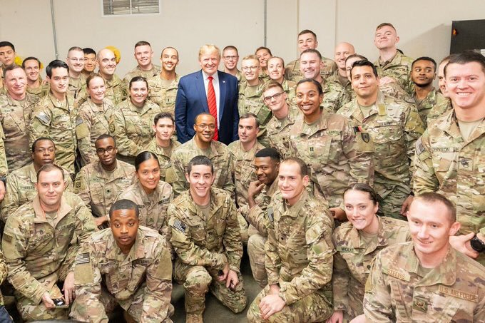 Can you find the 5-time draft dodger that swiped funds assigned to the armed forces & their family members in order to fund his unneeded border wall, who absolves army war criminals & has them campaign for him?  Retweet If you see him ...