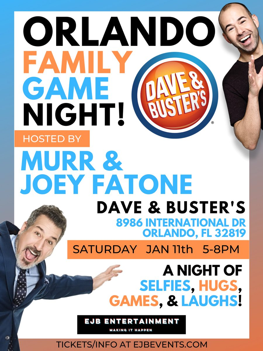 Orlando & Fort Lauderdale! Bring the whole family to my Family Fun Nights @DaveandBusters & @XActionPark on Jan 11 & 12! @realjoeyfatone will be joining in Orlando as well! Games, photos & more. Orlando Tix: https://bit.ly/34Cxr1A Fort Lauderdale Tix: https://bit.ly/34CxIl8