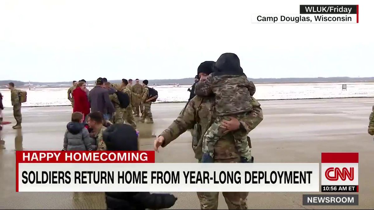 "190 soldiers returned home to Wisconsin yesterday after being deployed for more than a year. ""My heart is just overfilled,"" one mother said. ""I need nothing for Christmas. I have my Christmas present."""