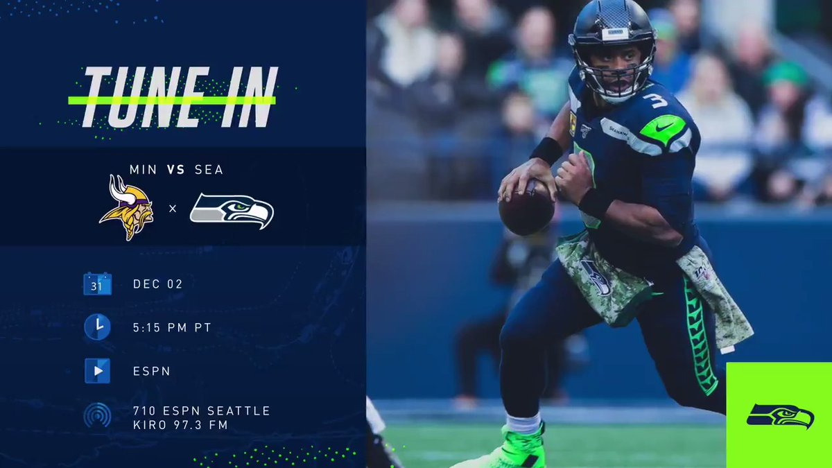 #MNF at home!   Make sure you're tuned in to watch or listen to  #MINvsSEA!