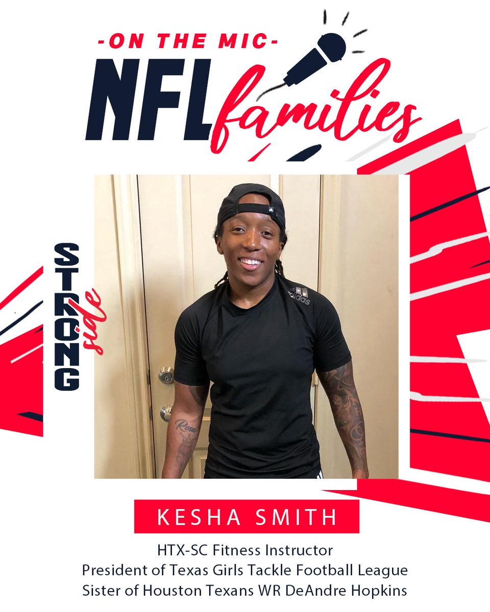 📣ON THE MIC ALERT📣Follow along tomorrow as Kesha Smith, fitness guru, President of @TGTFLeague and sister of @DeAndreHopkins, takes over our IG story while the @HoustonTexans take on the @Patriots during #SNF! This is gonna be good … 😏👏 #NFLFamilies