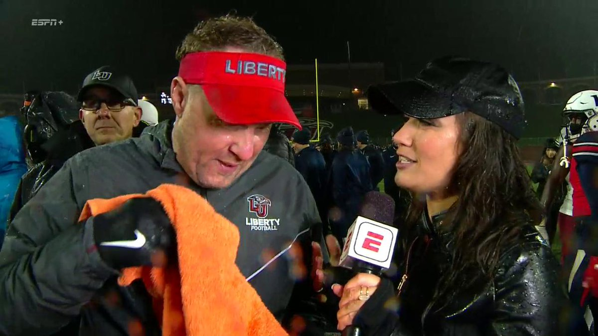.@LibertyFootball is Bowl Eligible! We caught up with @CoachHughFreeze on the field after the win! #RiseWithUs