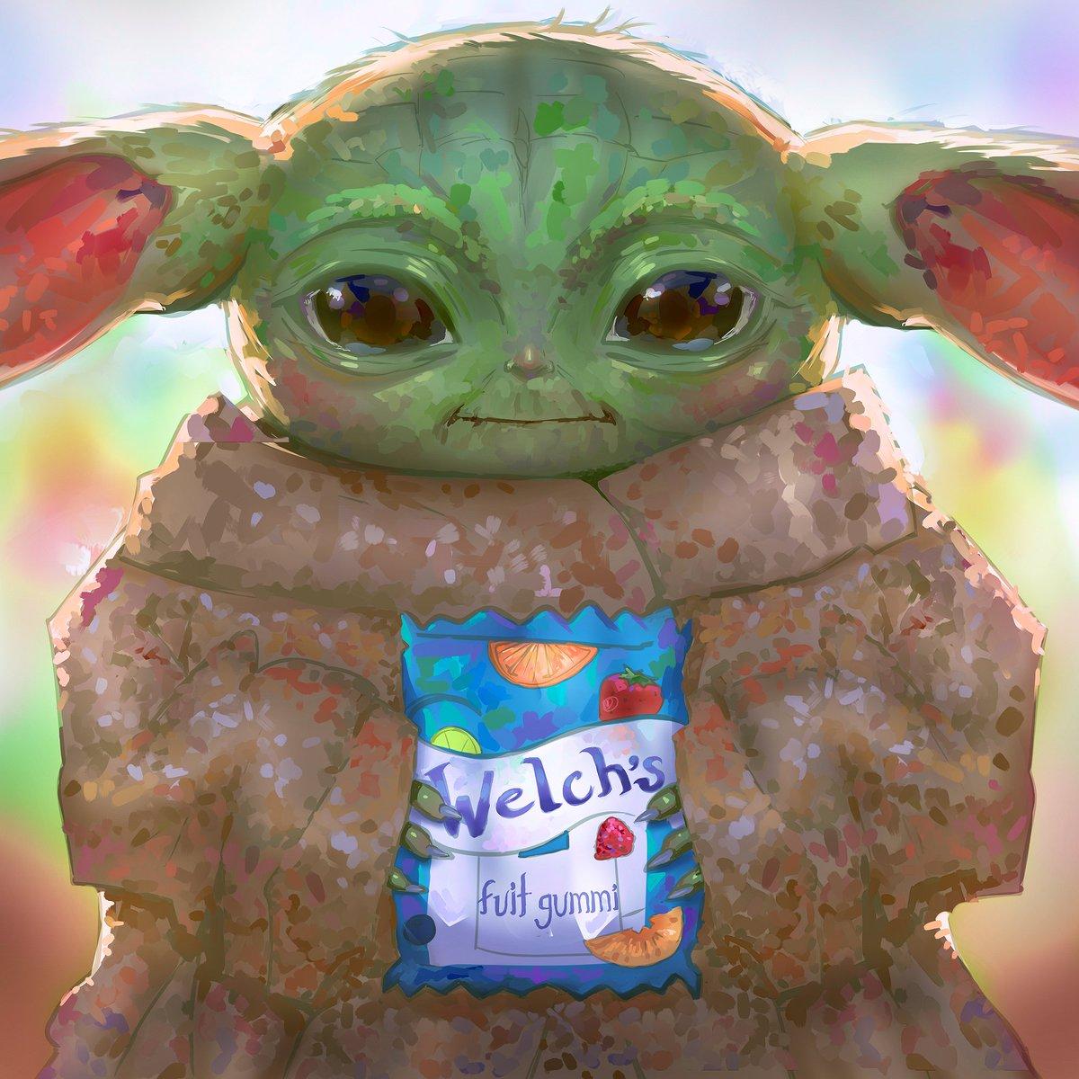 Maddie On Twitter Portrait Of Baby Yoda Holding Fuit Gummi 2019 To legendary meme status baby yoda ascended has. baby yoda holding fuit gummi 2019