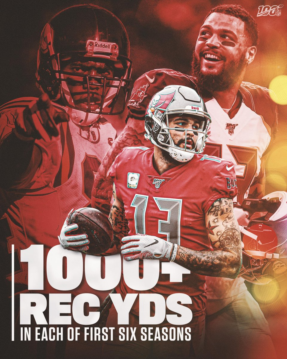 .@MikeEvans13_ became just the second player in NFL history with at least 1,000 receiving yards in each of his first six seasons. The other guy? Thatd be @RandyMoss. 🙌 📺: #TBvsJAX - TOMORROW at 1pm ET on FOX 📱: NFL App // Yahoo Sports App