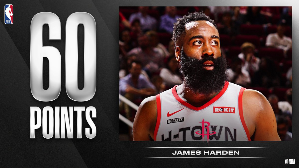 🤯 @JHarden13 notches his fourth career 60-point game... in just 30:41 minutes of action! #OneMission