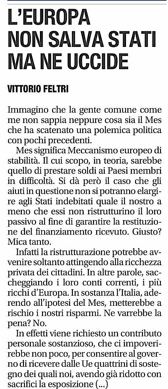 La #MES sain@ in poche parole... #Europa #UE #VittorioFeltri