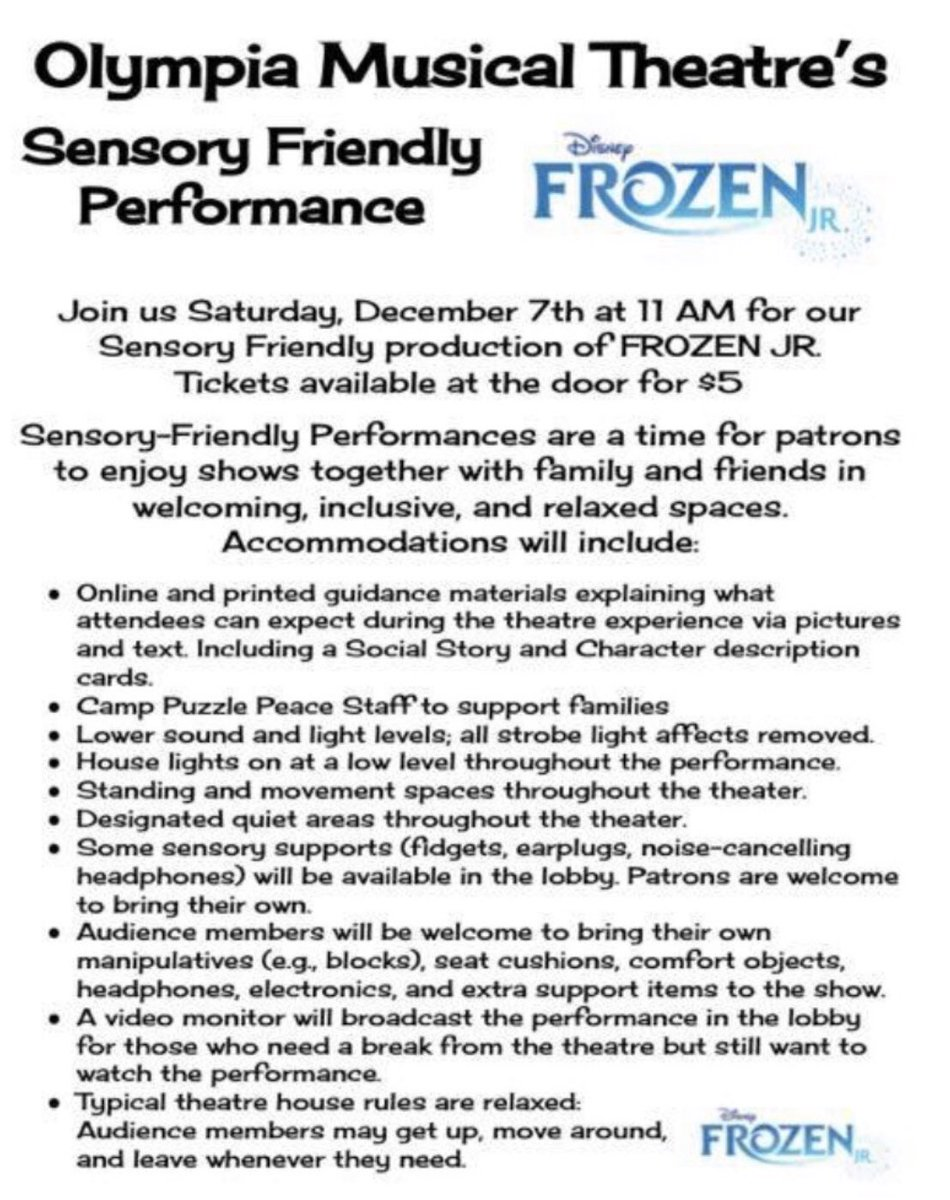 If you are in #Rochester #NY Saturday, December 7th at 11am #OlympiaHighSchool is having a #Autism sensory sensitive performance of #Disney #Frozen  #autismawareness #sensorysensitve Olympia High School 1139 Maiden DriveRochester, NY 14615