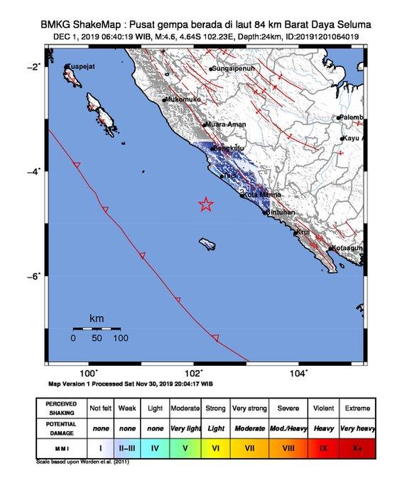 Pusat Gempa Magnitudo 4.6 di Seluma, Bengkulu, Minggu (1/12/2019)