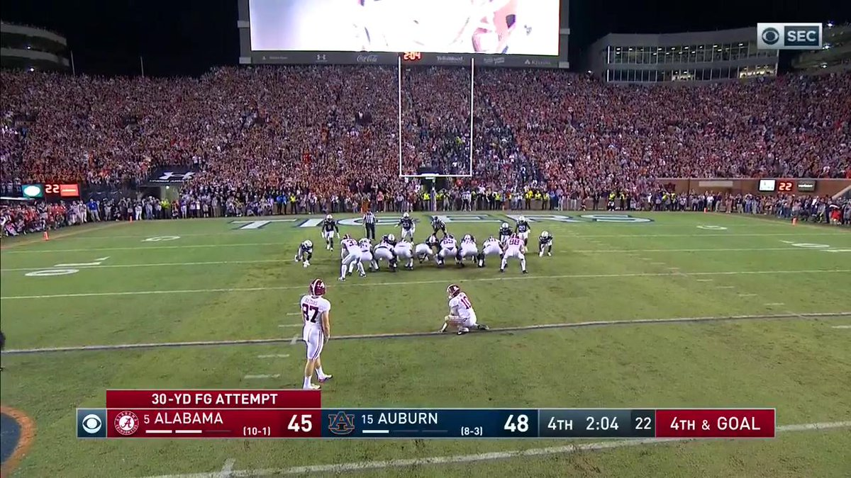 BAMA MISSES. WHAT A GAME. #IRONBOWL [via @CBSSports]