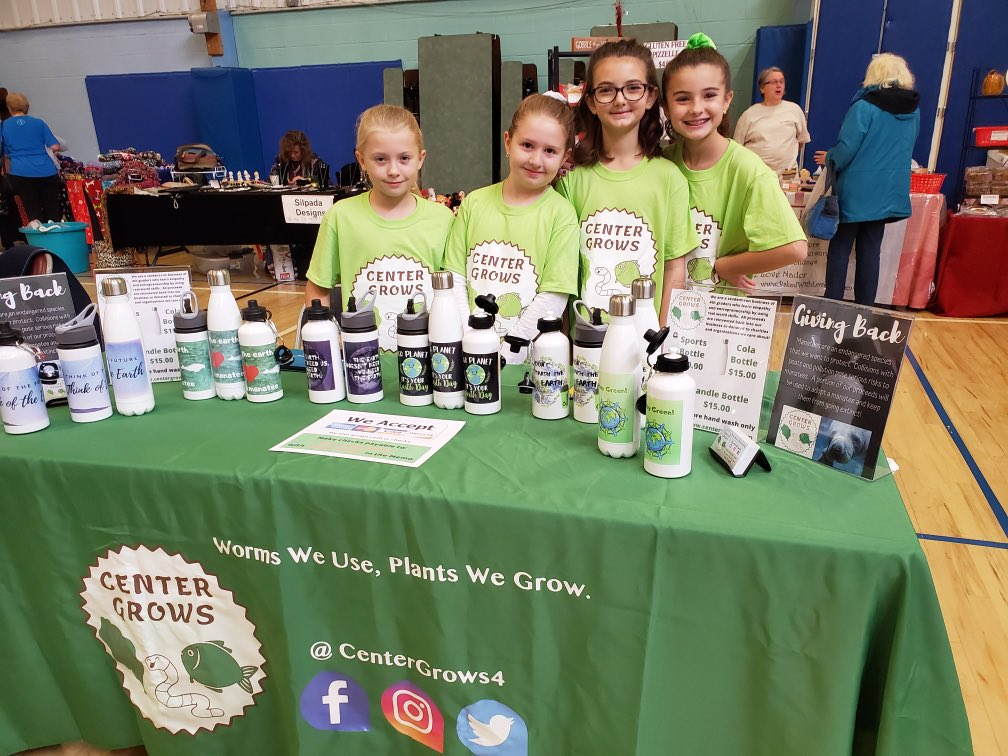 Center Grows selling their handmade water bottles at the YMCA craft show this weekend to support small business Saturday while protecting the environment.  A portion of the proceeds will help them adopt a manatee. Go Mustangs!!!  #plumproud  @CenterGrows4  @PHSEarthClub