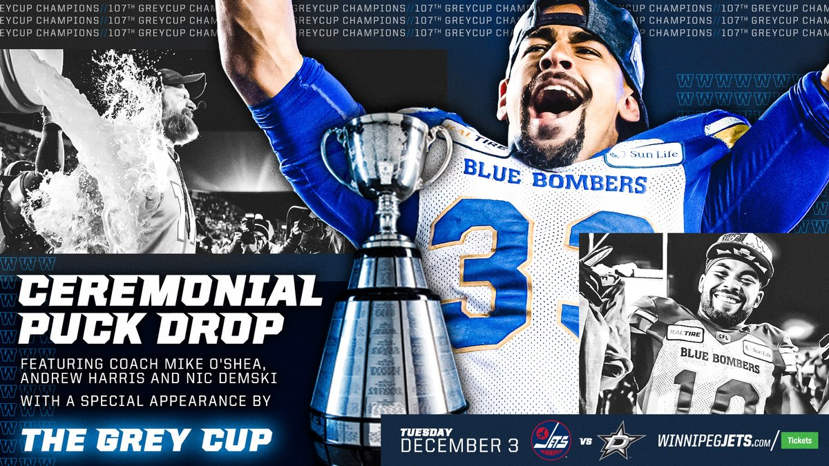 #NHLJets return home THIS TUESDAY and Grey Cup Champions @Wpg_BlueBombers will be dropping the puck! TICKETS AVAILABLE ➡ wpgjets.co/Bombers