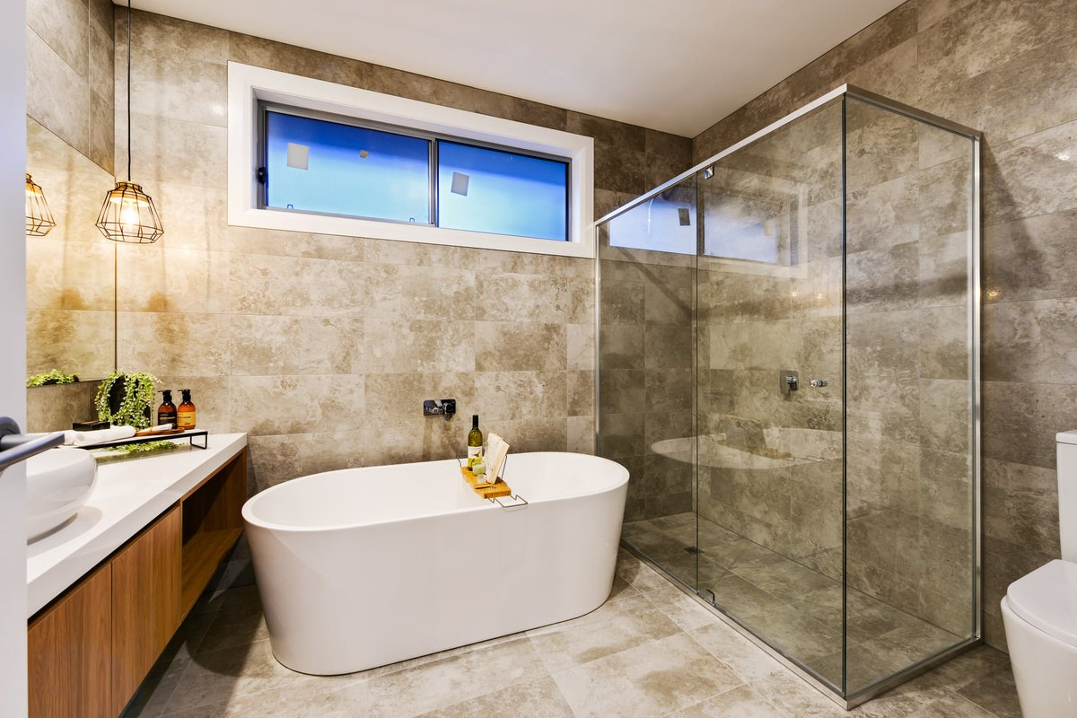 Stunning Homes Where Passion Meets Excellence On Twitter Stunning Modern Bathroom Design With Soft And Neutral Color Decor Pendant Lights Stone Benchtop Wall Hung Vanity Freestanding Basin Freestanding Bathtub Wall Tiles