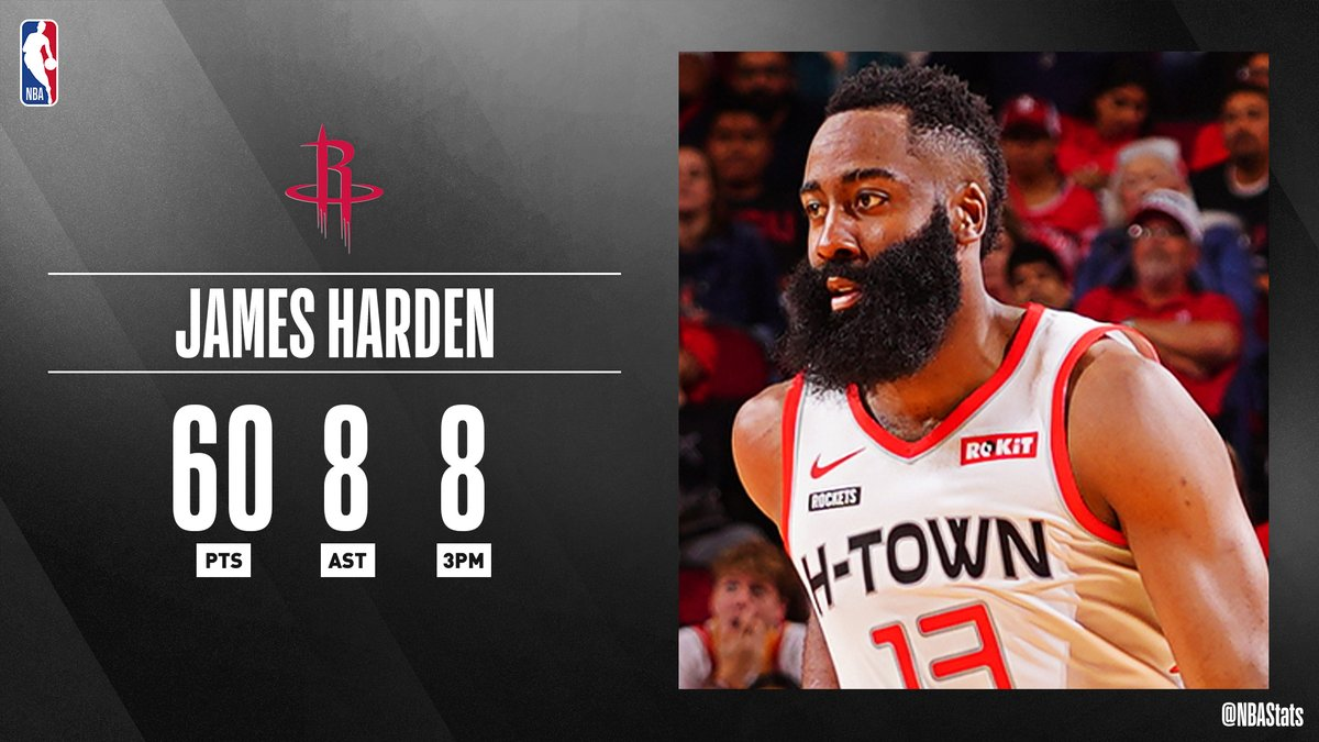 James Hardens historic night of 60 points on 16-24 shooting earns him #SAPStatLineOfTheNight!