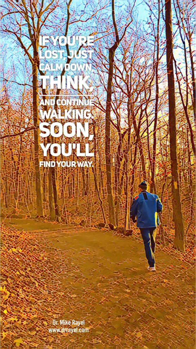 If you're lost, just calm down, think, and continue walking. Soon, you'll find your way. #inspirationalquote #wisdomquote #wisdomwords #foodforthought #motivationalmd