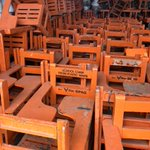 Image for the Tweet beginning: School chairs made from plastic