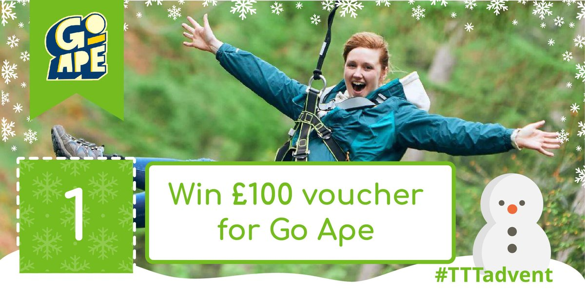 🎄 Day 1 of our #TTTAdvent Christmas #Giveaway is here - WIN a £100 Voucher for @GoApeTribe 🎄  For your chance to #win enter here:   What's behind tomorrow's door? Follow us to find out! #christmas #competition #SundayFunday #adventcalendar #GoApe