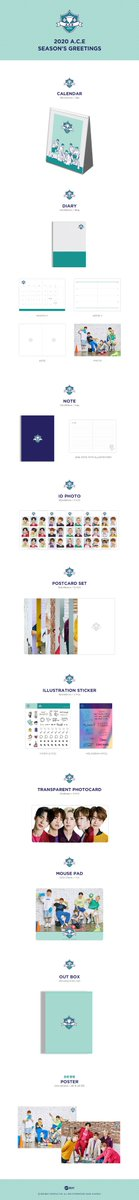 Detail: * The outer case is just for protecting goods. - OUT BOX - CALENDAR : 26p - DIARY : 160p - NOTE : 64p - ID PHOTO : 5p - POSTCARD SET : 12p - ILLUSTRATION STICKER : 3p - TRANSPARENT PHOTOCARD : 5p - MOUSE PAD - 1pc RANDOM POSTER out of 2 types