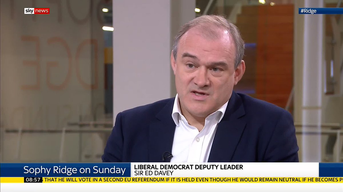 Hes misleading people about what the current law is. Liberal Democrat Deputy Leader @EdwardJDavey says Boris Johnson is calling for changes to the law that have already happened, and accuses the Prime Minister of politicising the London Bridge attack. #Ridge