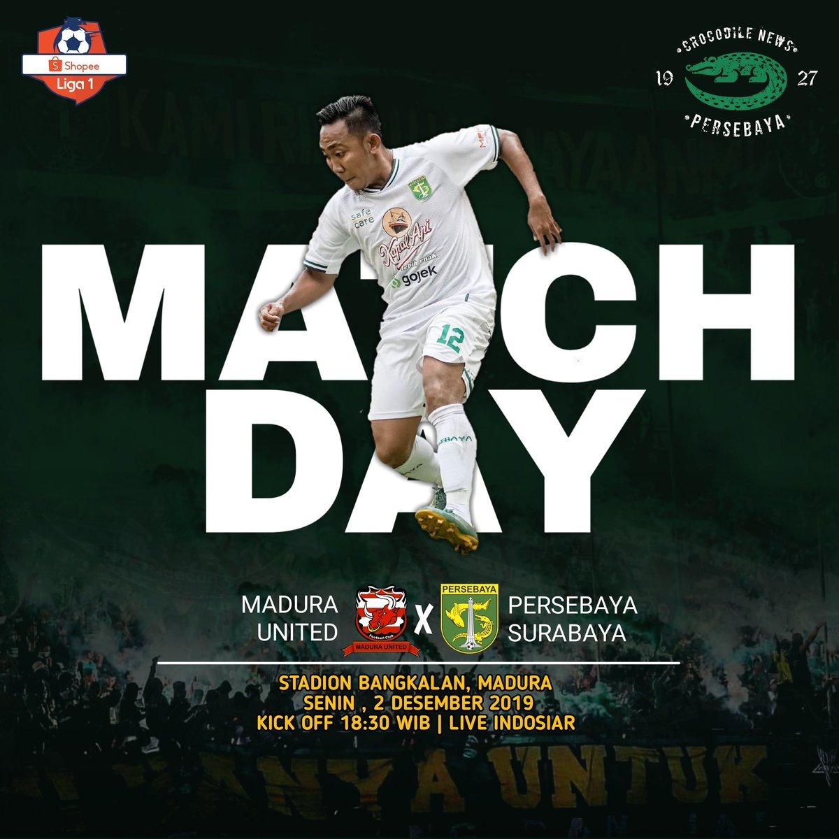 MATCH DAY! PEKAN 30!💚🐊 _ 🏆 Shopee Liga 1! 🆚 Madura United Fc Vs Persebaya Surabaya 📆 Senin, 2 Desember 2019 ⏰ Kick Off 18.30 WIB 🏟 Stadion Gelora Bangkalan, Madura 📺 Live Indosiar  Ayo Jol curi poin di Madura! 🔥 #Persebaya #bajolijo #greenforce #CrocodileNews #bonek