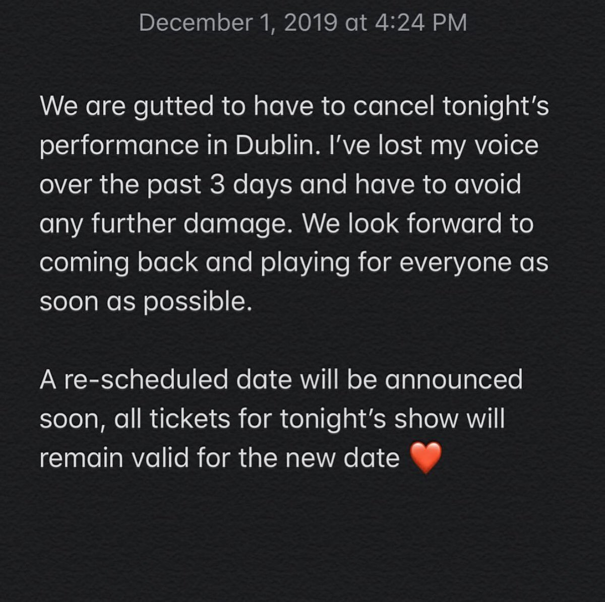 Statement regarding tonight's show @academydublin