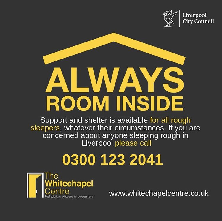 Temperatures are plummeting. Please help us get this number out there to help people sleeping rough in #Liverpool. It takes less than a minute to make the call, and you could save a life. 0300 123 2041 #AlwaysRoomInside #endhomelessness