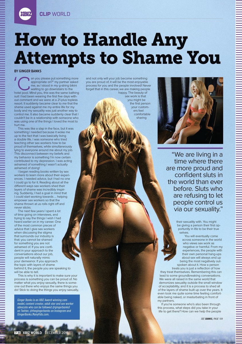 """I wrote my first ever article for @XBIZ Mag """"How to Handle Any Attempts to Shame You"""" 😝Ahhhhh 😁😁😁I'd appreciate you reading it, and telling me what you think💕 xbizdigital.com/xw/2019-12/"""