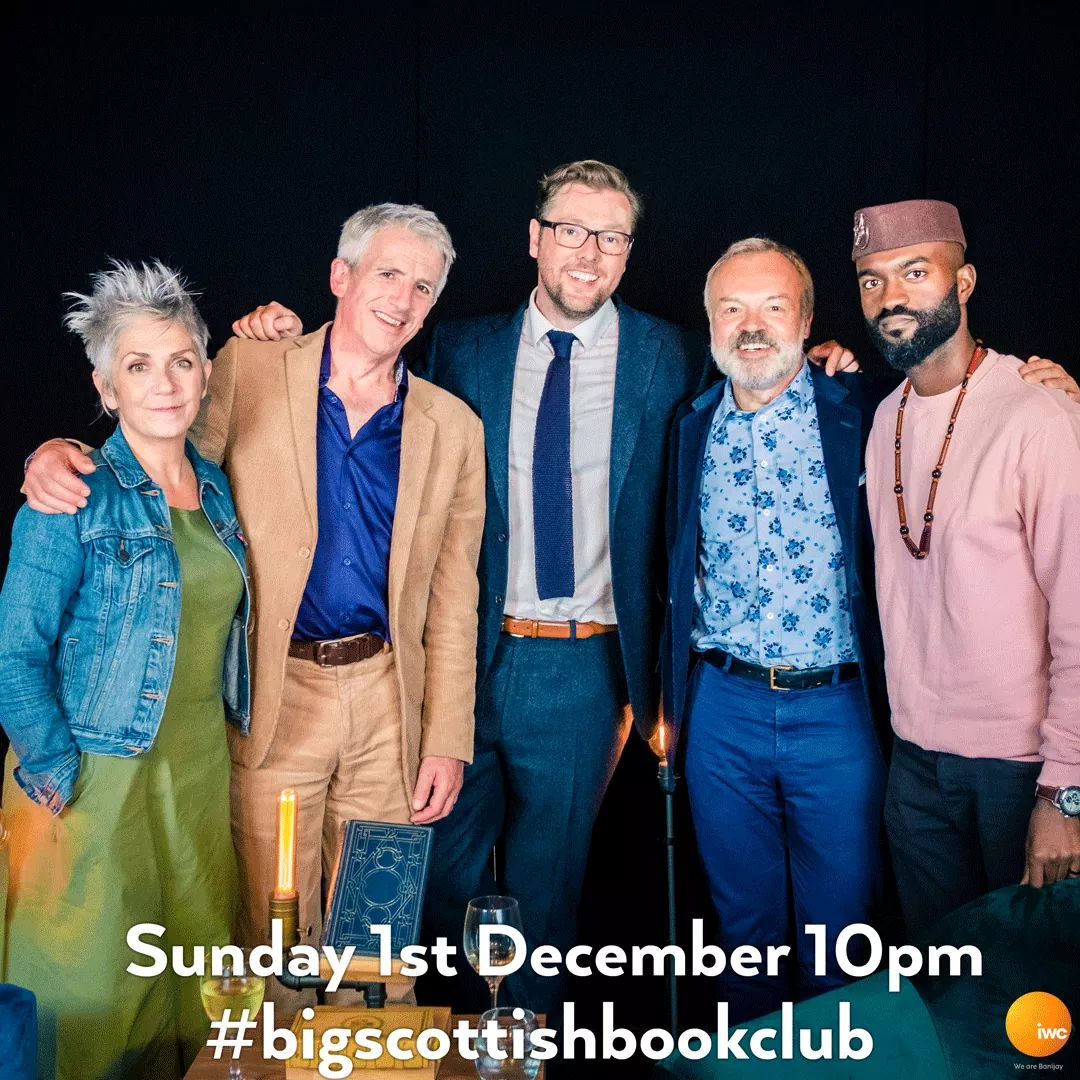 Last ep tonight & it's a cracker (1st of Dec - festive puns allowed). Tune in tonight at 10pm for this delectable line up: @grahnort @PNovelistGale @DameDeniseMina @InuaEllams & of course @Damian_Barr #bigscottishbookclub