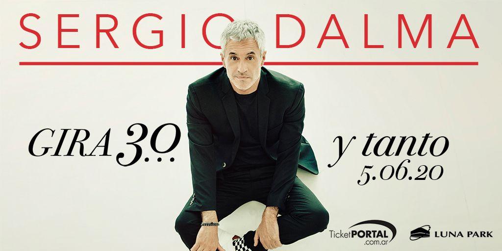 """¡Sergio Dalma en Argentina! El cantante español celebra sus 30 años de carrera presentando su nuevo álbum """"30…y tanto"""" en el #LunaPark, 05 de junio 2020. Entradas a la venta por sistema Ticketportal, y desde las 14 hs. en boletería del estadio, saludos! #SergioDalma"""