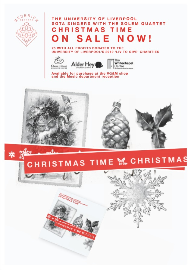 #MuseXmas #MuseumShopSunday Grab a copy of @sotauols Christmas single Christmas Time featuring @concertsUoL performers inc @SolemQuartet and more! Proceeds to @AlderHey @ClaireHouse @WhitechapelLiv as part of @LivUni #LivtoGive £5 from VGM Shop @drhollytessler
