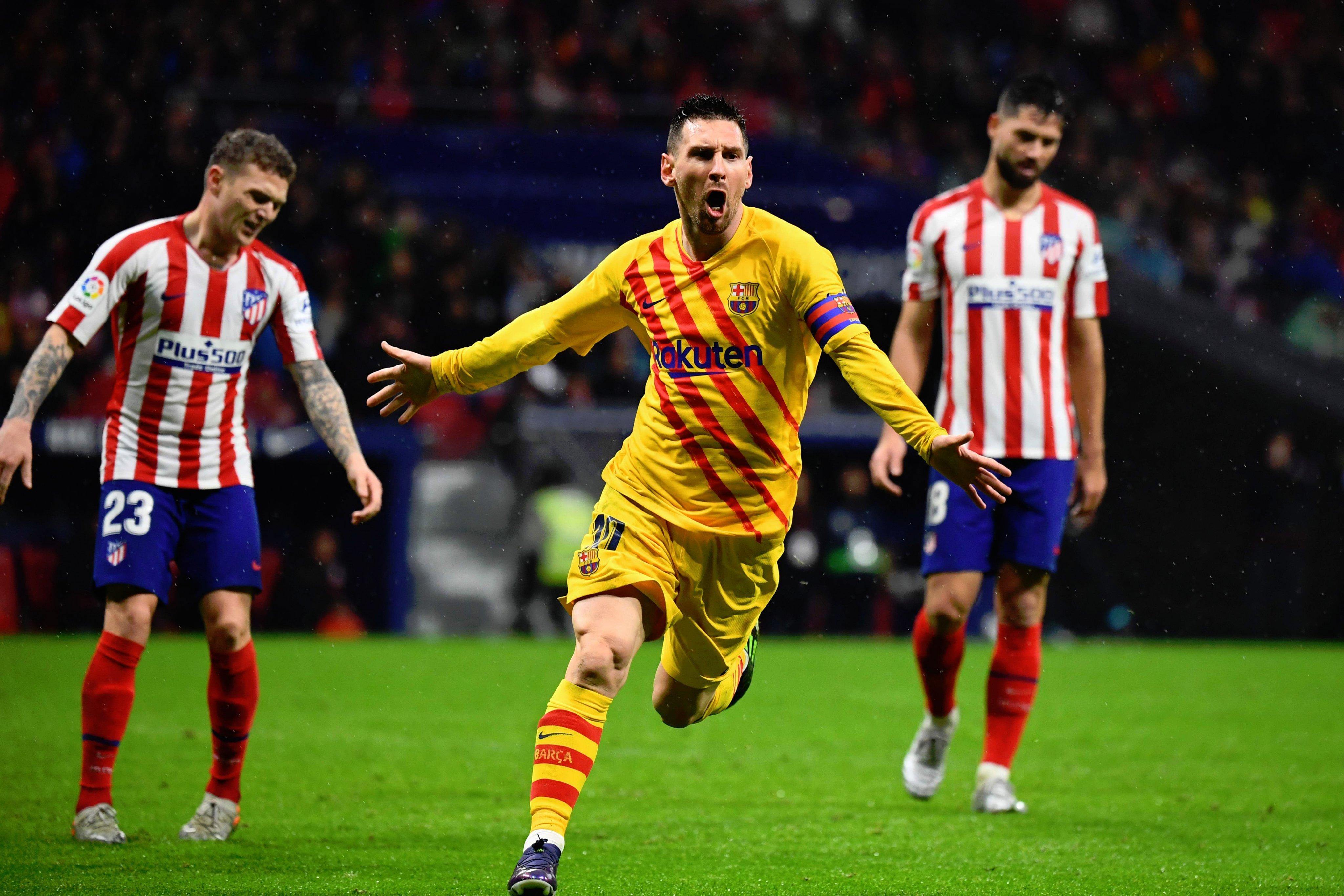 ميسي يقود برشلونة للفوز امام اتليتكو مدريد واستعادة الصدارة على واندا ميتروبوليتانو