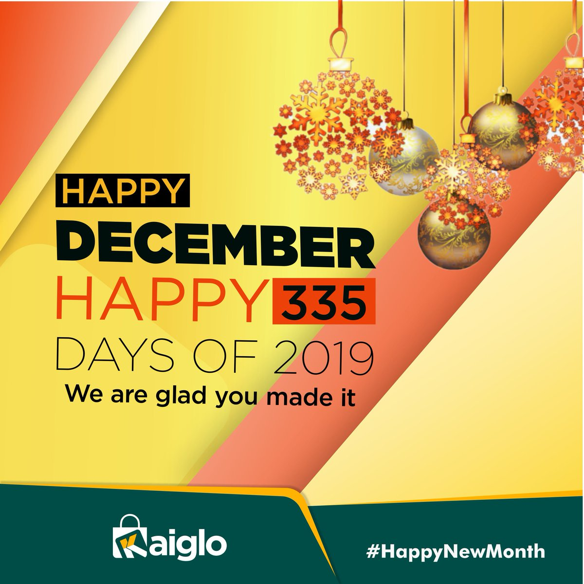 Happy New Month. Happy 335 days of 2019.  We're glad you made it.  Don't forget to visit  http://www. kaiglo.com/promo/black-fr iday  …   #Kaiglo #YourMarketsNowCloser #KaigloMarketplace #HappyNewMonth #HappyDecember #December1st<br>http://pic.twitter.com/wmJULcWz4p