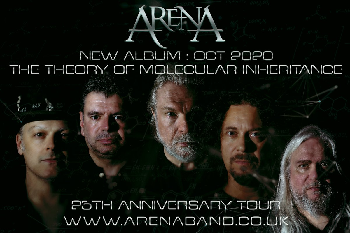 Arena's next studio album,  The Theory of Molecular Inheritance,  and 25th Anniverary Tour, both set for October 2020. Links to tickets are available at:  http://www. arenaband.co.uk/tour-date-2020/      #tour #newalbum #progrock #progmusic <br>http://pic.twitter.com/ogQayazo3c