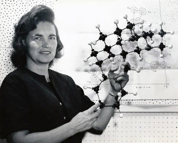 "Born on this day in 1921, chemist Isabella Karle, instrumental in developing techniques to extract plutonium chloride from a mixture containing plutonium oxide. ""I was the one who collected the data and did all the practical experiments. He got the Nobel Prize for that work."""