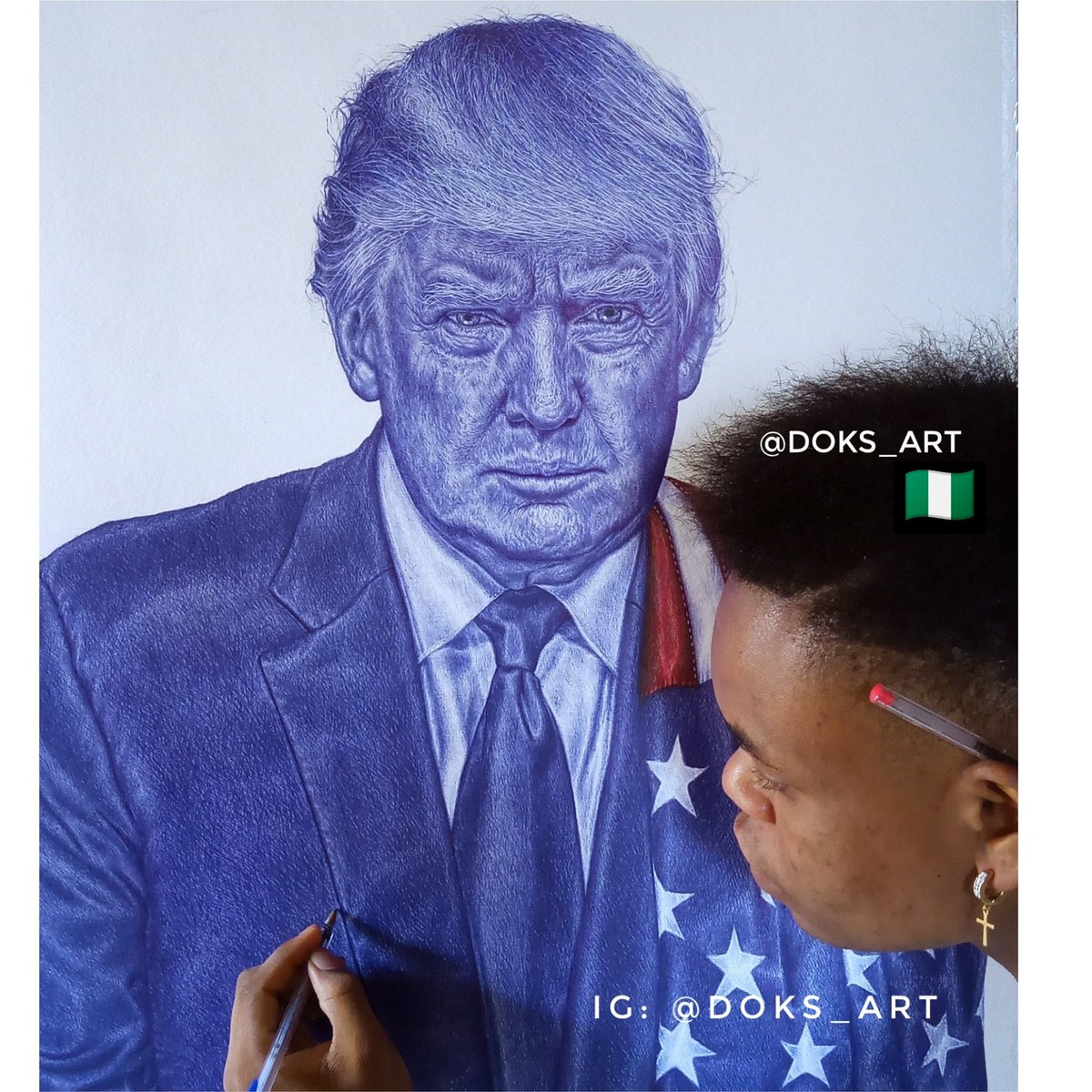 This is my second portrait of President Trump. This time I really want him to see it. All done in ballpoint, took up to 70hours, 24×21 inches. Please RT till the president sees this🙏🏽 @realDonaldTrump @DonaldJTrumpJr @POTUS