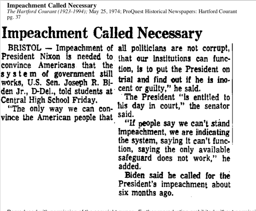 Here @JoeBiden on impeachment back in May 1974. To Democrats thinking about rushing through the rest of the process with @realDonaldTrump, this is a clear statement about why the party needs to finish this the right way.