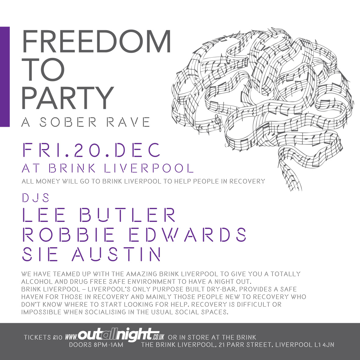 #SUNDAYSUPPORT #RECOVERY FREEDOM TO PARTY - A Sober Rave 💖 Friday 20th Dec at @BrinkLiverpool - Lpools only dry bar ALL MONEY WILL GO TO BRINK LIVERPOOL TO HELP PEOPLE IN RECOVERY Tkts on sale tomorrow and are £10 online at outallnight.co.uk or in store at The Brink