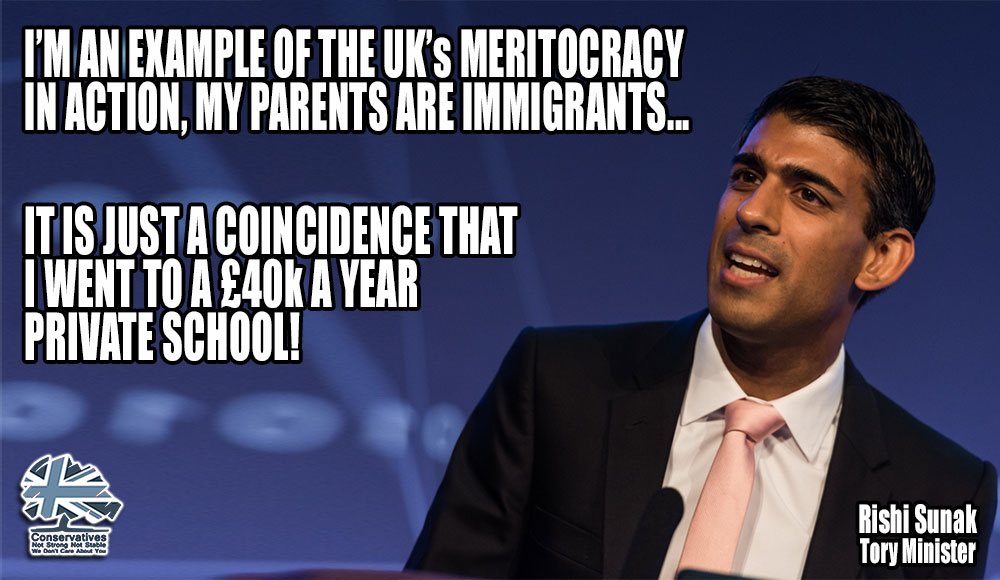 Rishi Sunak claims to be a shining example of the UKs meritocracy because his parents were migrants... He also went to a £40k a year private school and married into the family of a billionaire venture capitalist! #Privilege #itvdebate #ITVLeadersDebate #ITVElectionDebate
