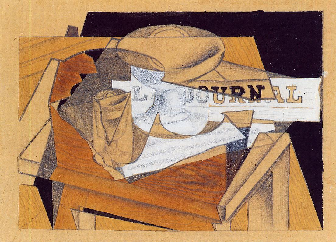 Bowl, Glass and Newspaper #syntheticcubism #spanishart<br>http://pic.twitter.com/F5pULbATUj