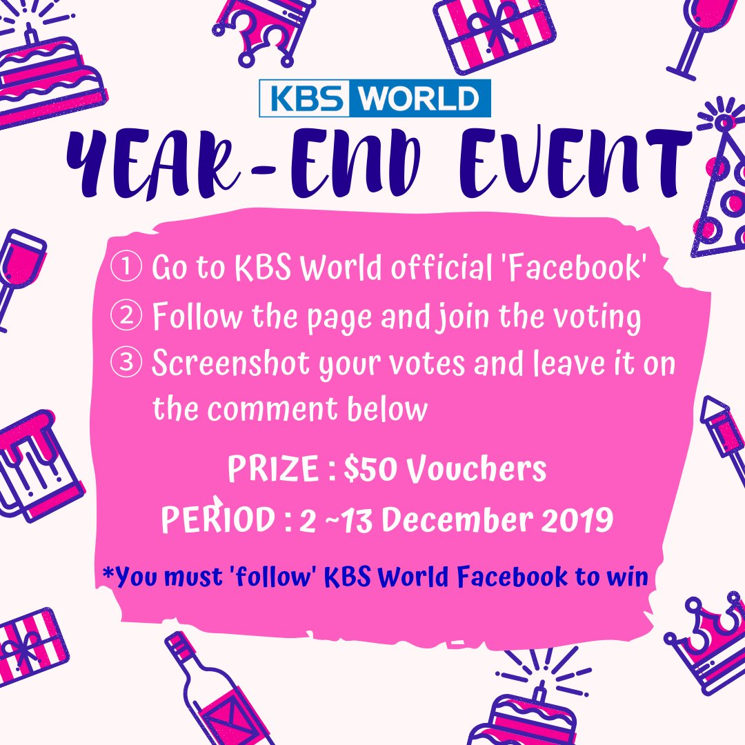 [Year-end Event] FACEBOOK X TWITTER! #KBSWorld is running a Voting #Event on #Facebook! How to join: 1. Go to facebook.com/kbsworld 2. FOLLOW the page and fill in the SURVEY 3. Screenshot your votes and leave it on the comment below(twitter) It is compulsory to FOLLOW the page