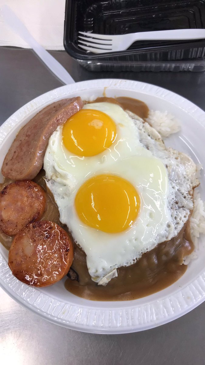 Sherry Nhan On Twitter First Meal In Honolulu Loco Moco Plate With A Side Of Portugese Sausage Spam And Sunny Side Up Eggs From Rainbow Drive In Https T Co Ih7tl1asph