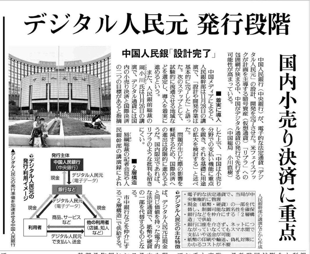 デジタル人民元ついに「発行段階」か。いろんな批判はあるものの、法定通貨の電子化をここまで進めているのは凄い。ここでも日本は遅れている。セキュリティがーと言われるが、日本こそ Central Bank Digital Currency(CBSC)進めるべきとの立場。すくんでいたのでは、何も進まない。
