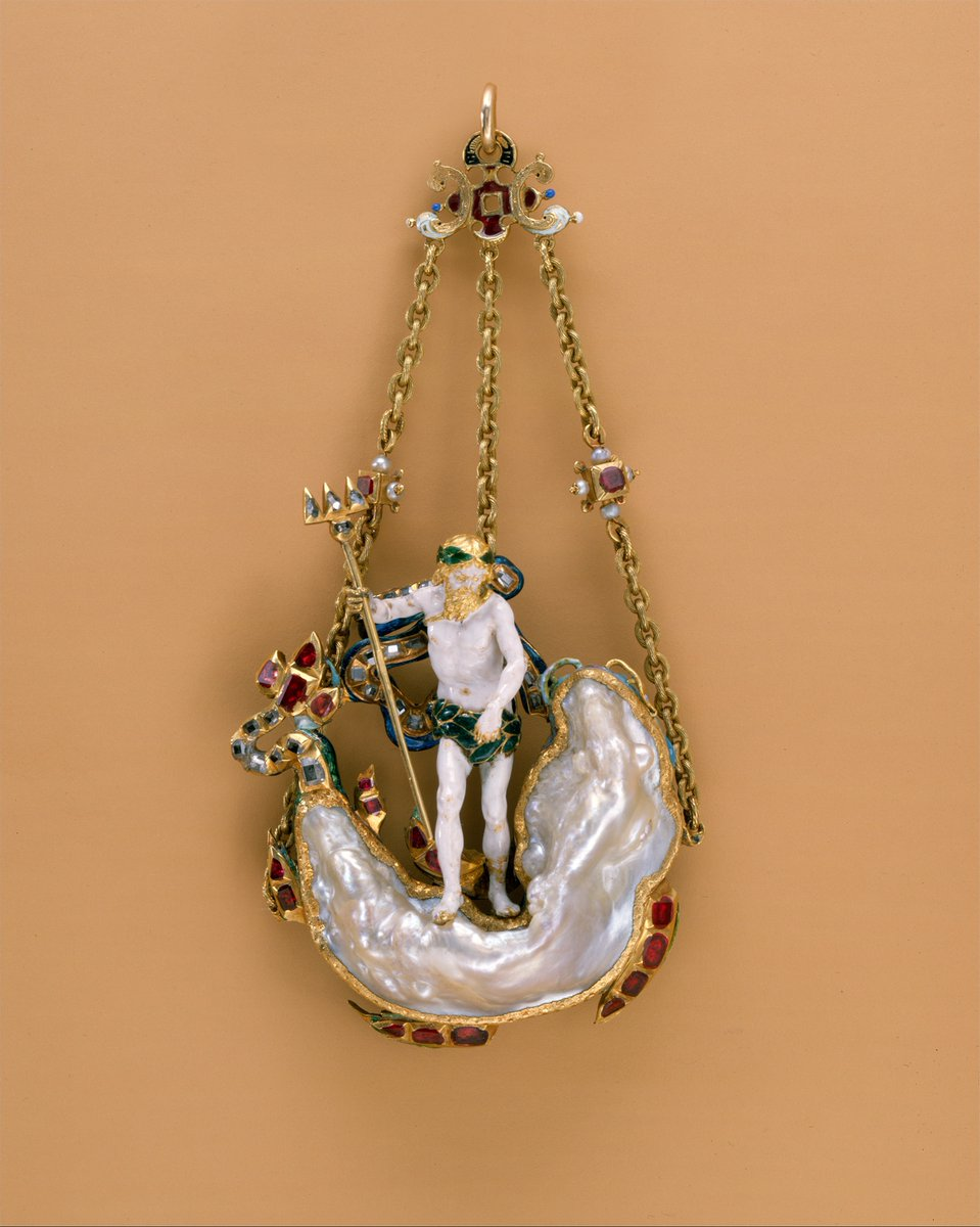 Day 2 of The Seventeenth Century Lady's #17thCentury Advent Calendar This exquisite early seventeenth-century pendant is 'in the Form of Neptune and a Sea Monster', probably Netherlandish. Glittering jewels fit for a glittering holiday season. Metropolitan Museum of Art <br>http://pic.twitter.com/uKpxvrmEqj