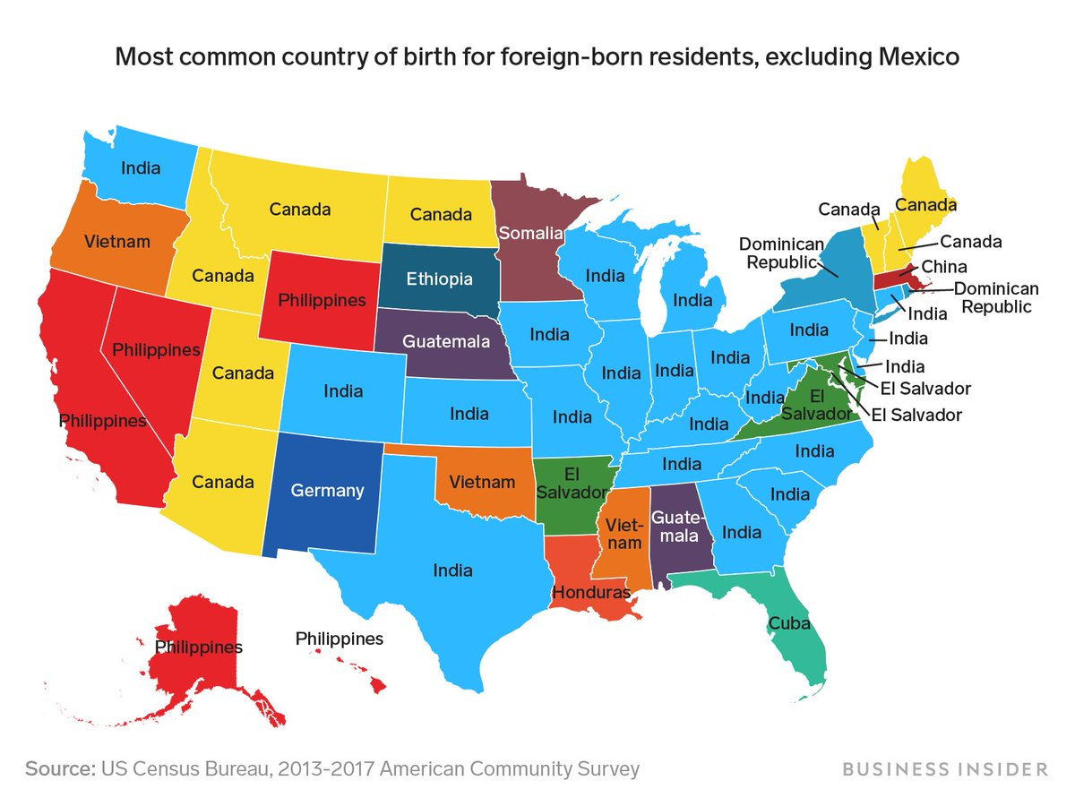 This map shows where each state's largest immigrant group comes from, excluding Mexico  India already gets more green cards than ANY OTHER COUNTRY.   No #S386  #NoS386 End #OPT #H4EAD #H1B<br>http://pic.twitter.com/om0ULbbtWy